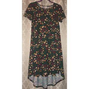 LulaRoe Green Floral Carly Hi-Lo Dress